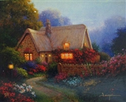 SERGON ** BOUGAINVILLA COTTAGE ** SIGNED CANVAS