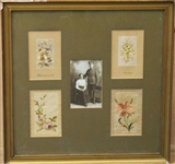 FRAMED VICTORIAN EMBROIDERY DISPLAY