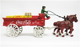 VINTAGE COCA-COLA CAST IRON HORSE DRAWN DELIVERY TRUCK