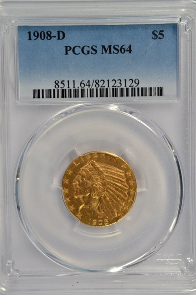 BETTER DATE NEARLY GEM BU 1908-D $5 INDIAN GOLD PIECE. PCGS MS64