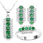 3 C.T.W. GENUINE EMERALD AND WHITE SAPPHIRE EARRINGS, NECKLACE AND RING SET IN STERLING SILVER