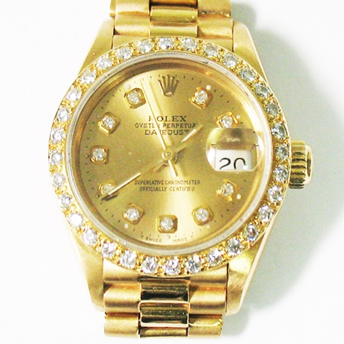 ROLEX LADIES 18K PRESIDENT WITH DIAMOND BEZEL AND DIAL