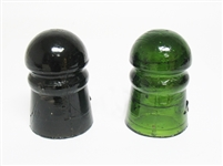 TWO VINTAGE GLASS ELECTRICAL INSULATORS