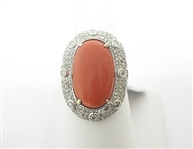 14K CORAL AND DIAMOND RING 12.06 C.T.W.