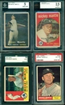 4 SCARCE CERTIFIED TOPPS MICKEY MANTLE CARDS 1957-1961