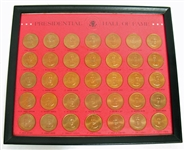 VINTAGE FRANKLIN MINT 1968 35 PIECE PRESIDENTIAL HALL OF FAME BRONZE COIN SET