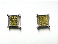 1.25 CT YELLOW DIAMOND 14K WG STUD EARRINGS