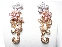 14K TRICOLOR FANCY, LONG FLORAL EARRINGS