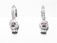 .75 CT CHOCOLATE & WHITE DIAMOND 14K WG EARRINGS