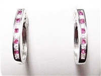 .60 CT DIAMOND & RUBY 14K WG HOOP EARRINGS
