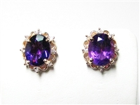 5 CT AMETHYST & DIAMOND 14K YG STUD EARRINGS