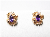 .40 CT AMETHYST & DIAMOND 14K YG EARRINGS