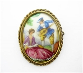 HAND PAINTED LIMOGES BROOCH