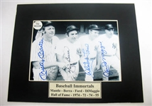 HAND SIGNED MANTLE, BERRA, FORD, AND DIMAGGIO 5X7 IN A MATTED DISPLAY