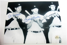 HAND SIGNED MANTLE, DIMAGGIO, AND WILLIAMS 8X10