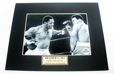 HAND SIGNED MUHAMMAD ALI AND JOE FRAZIER 5X7 IN A MATTED DISPLAY
