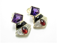 5 CT DIAMOND, AMETHYST, GARNET & ONYX 14K EARRINGS