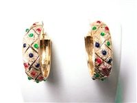 LARGE 14K YG ENAMELED HOOP EARRINGS