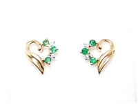EMERALD & DIAMOND 14K HEART EARRINGS