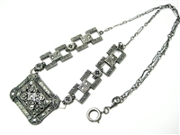 ORNATE VINTAGE STERLING NECKLACE WITH MARCASITES