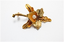 LARGE 18K ROSE & YELLOW GOLD FLORAL BROOCH