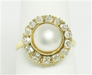 18K DIAMOND AND MABE PEARL VINTAGE ESTATE RING