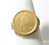 14K GOLD RING WITH GENUINE FOREIGN GOLD COIN
