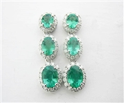 14K EMERALD AND DIAMOND EARRINGS 3.54 C.T.W.