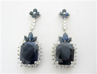 14K SAPPHIRE AND DIAMOND EARRINGS 15.65 C.T.W.