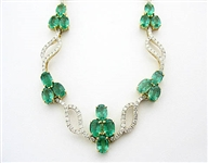 18K EMERALD AND DIAMOND NECKLACE 15.27 C.T.W.