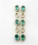 18K EMERALD AND DIAMOND EARRINGS 4.11 C.T.W.