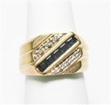 14K VINTAGE SAPPHIRE AND DIAMOND ACCENT RING