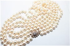 VINTAGE DOUBLE PEARL & 14K ROSE GOLD DIAMOND CATCH NECKLACE