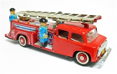 VINTAGE TIN TOY FRICTION FIRE TRUCK