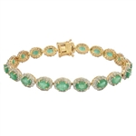 14K EMERALD AND DIAMOND BRACELET 12.58 C.T.W.