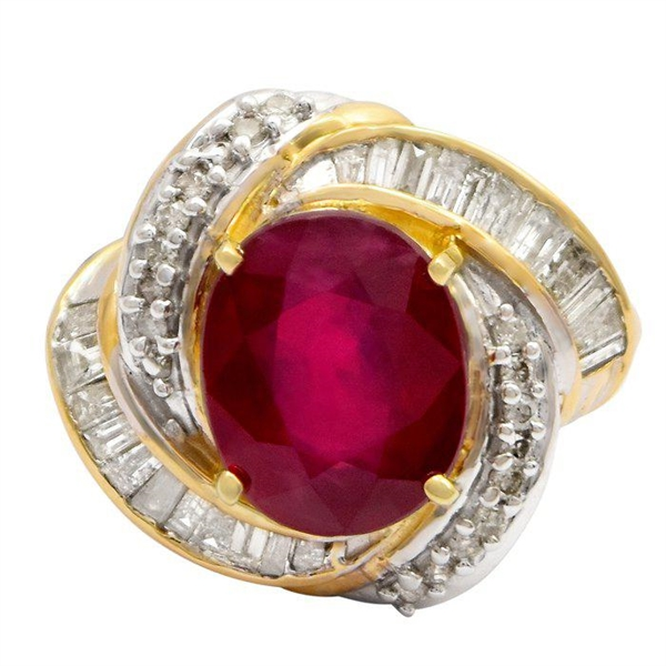 14K RUBY AND DIAMOND RING 6.60 C.T.W.