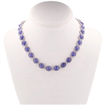 PLATINUM PLATED SILVER TANZANITE AND SAPPHIRE NECKLACE 118.62 C.T.W.