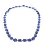 PLATINUM PLATED SILVER TANZANITE AND TOPAZ NECKLACE 76.38 C.T.W.