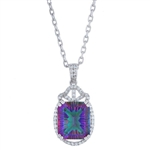 STERLING SILVER MYSTIC QUARTZ AND WHITE TOPAZ PENDANT WITH CHAIN 9.58 C.T.W.
