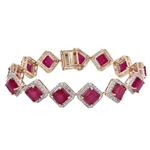YELLOW GOLD OVER STERLING SILVER RUBY AND WHITE SAPPHIRE BRACELET 46.04 C.T.W.