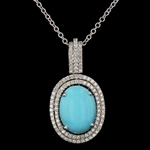 14K TURQUOISE AND DIAMOND PENDANT WITH CHAIN 9.83 C.T.W.