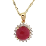 YELLOW GOLD OVER STERLING SILVER RUBY AND WHITE SAPPHIRE PENDANT WITH CHAIN 5.76 C.T.W.