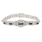 STERLING SILVER SAPPHIRE AND DIAMOND BRACELET 3.60 C.T.W.