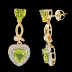 YELLOW GOLD OVER STERLING SILVER PERIDOT AND DIAMOND DANGLE EARRINGS 4.15 C.T.W.