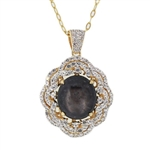 TWO TONE GOLD PLATED STERLING SILVER RUBY AND COLORLESS SAPPHIRE PENDANT WITH CHAIN 21.13 C.T.W.
