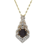 TWO TONE GOLD PLATED SILVER RUBY AND COLORLESS SAPPHIRE PENDANT WITH CHAIN 9.93 C.T.W.
