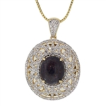 TWO TONE GOLD PLATED SILVER RUBY AND COLORLESS SAPPHIRE PENDANT WITH CHAIN 28.59 C.T.W.