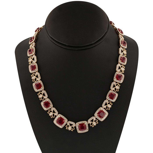 14K RUBY AND DIAMOND NECKLACE 56.73 C.T.W.