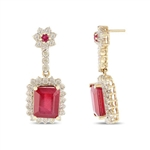 14K RUBY AND DIAMOND EARRINGS 22.43 C.T.W.