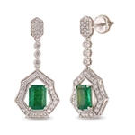 18K EMERALD AND DIAMOND EARRINGS 3.53 C.T.W.